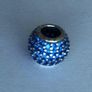 Authentic Pandora Sterling Silver Blue CZ Charm